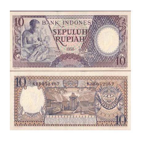 Billets banque Indonesie Pk N° 56 - 10 Rupiah