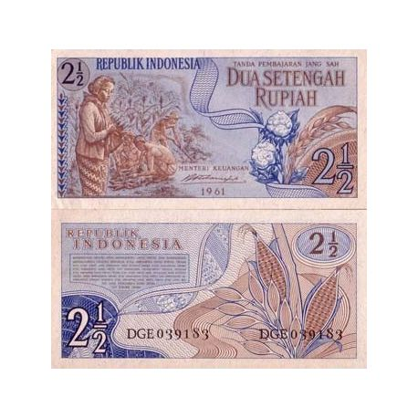 Billet de collection Indonesie Pk N° 79 - 2,1/2 Rupiah