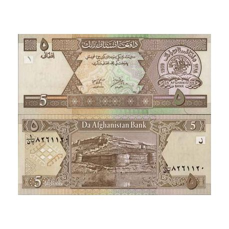 Billets de collection Billet de banque Afghanistan Pk N° 66 - 5 Afghanis Billets d'Afghanistan 2,00 €