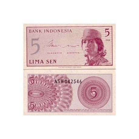 Billet de banque Indonesie Pk N° 91 - 5 Sen