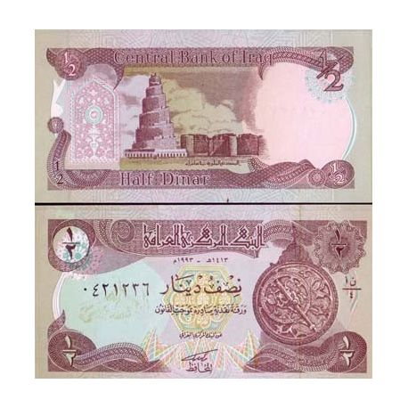 Billet de collection Irak Pk N° 78 - 1/2 Dinar