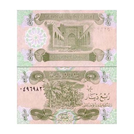Billets de collection Billets de banque Irak Pk N° 77 - 1/4 Dinar Billets d'Irak 1,00 €