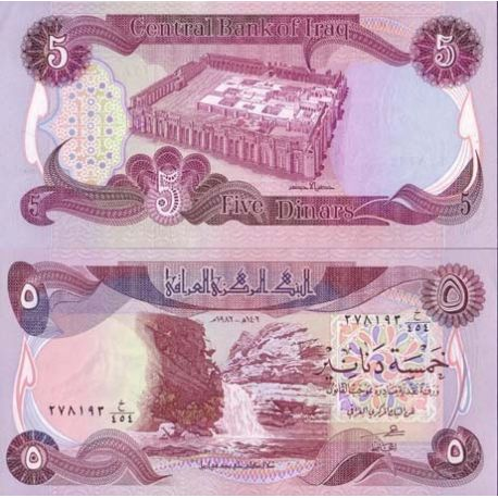 Billets de collection Billets banque Irak Pk N° 70 - 5 Dinars Billets d'Irak 7,00 €