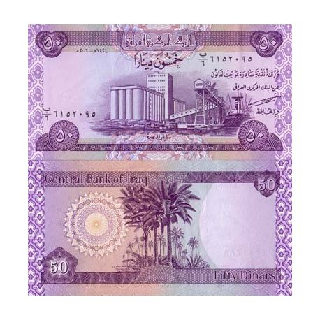Billets de collection Billet de banque Irak Pk N° 90 - 50 Dinar Billets d'Irak 1,00 €