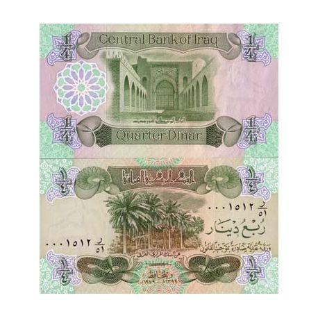 Billet de collection Irak Pk N° 67 - 1/4 Dinars