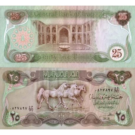 Billets de collection Billets banque Irak Pk N° 72 - 25 Dinars Billets d'Irak 3,50 €