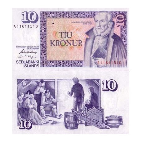 Billets de collection Billet de banque Islande Pk N° 48 - 10 Kronur Billets d'Islande 3,50 €