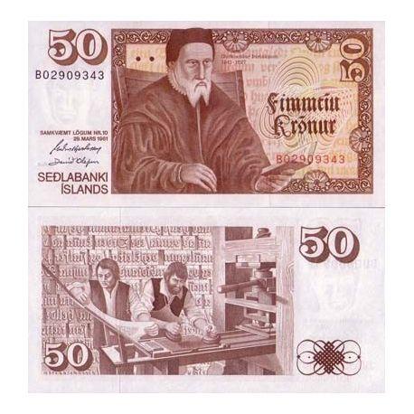 Billets banque Islande Pk N° 49 - 50 Kronur