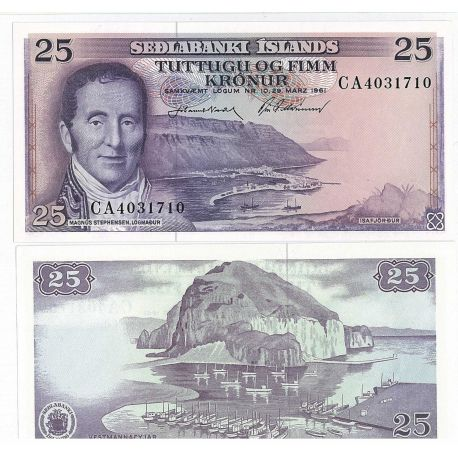 Billets de collection Islande - Pk N° 43 - Billet de 25 Kronur Billets d'Islande 11,00 €
