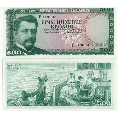 Billets de collection Billet de banque Islande Pk N° 45 - 500 Kronur Billets d'Islande 15,00 €