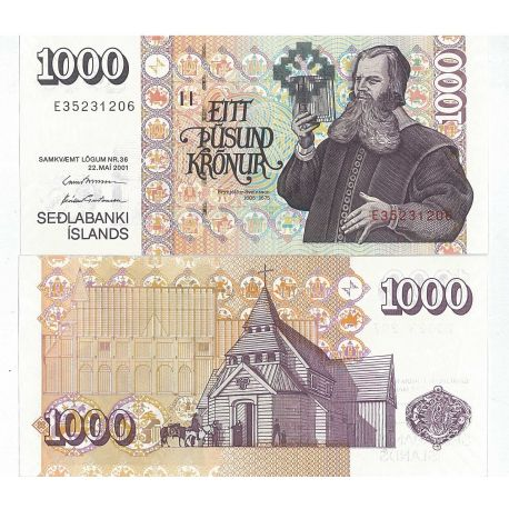 Billets de collection Billet de banque Islande Pk N° 60 - 1000 Kronur Billets d'Islande 20,00 €