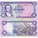 Los billetes de banco Jamaica Pick número 71 - 10 Dollar