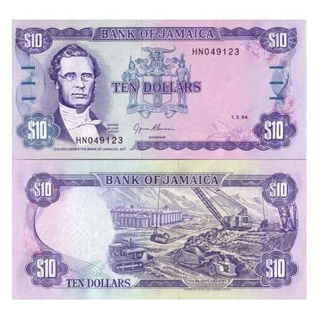 Billets de collection Billets de banque Jamaique Pk N° 71 - 10 Dollars Billets de Jamaique 6,00 €