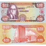Billet de banque Jamaique Pk N° 72 - 20 Dollars
