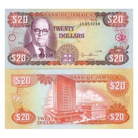 Billets de collection Billet de banque Jamaique Pk N° 72 - 20 Dollars Billets de Jamaique 9,00 €
