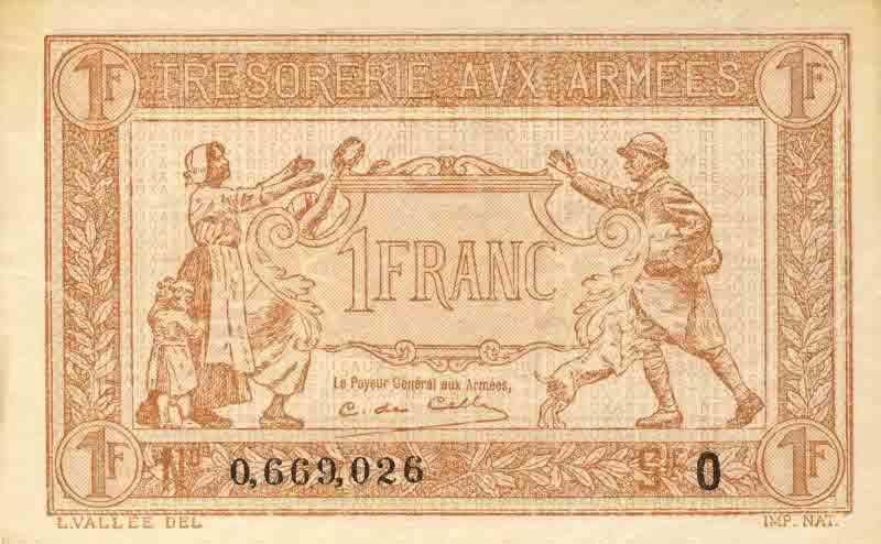 1 Franc Trésorerie aux Armées